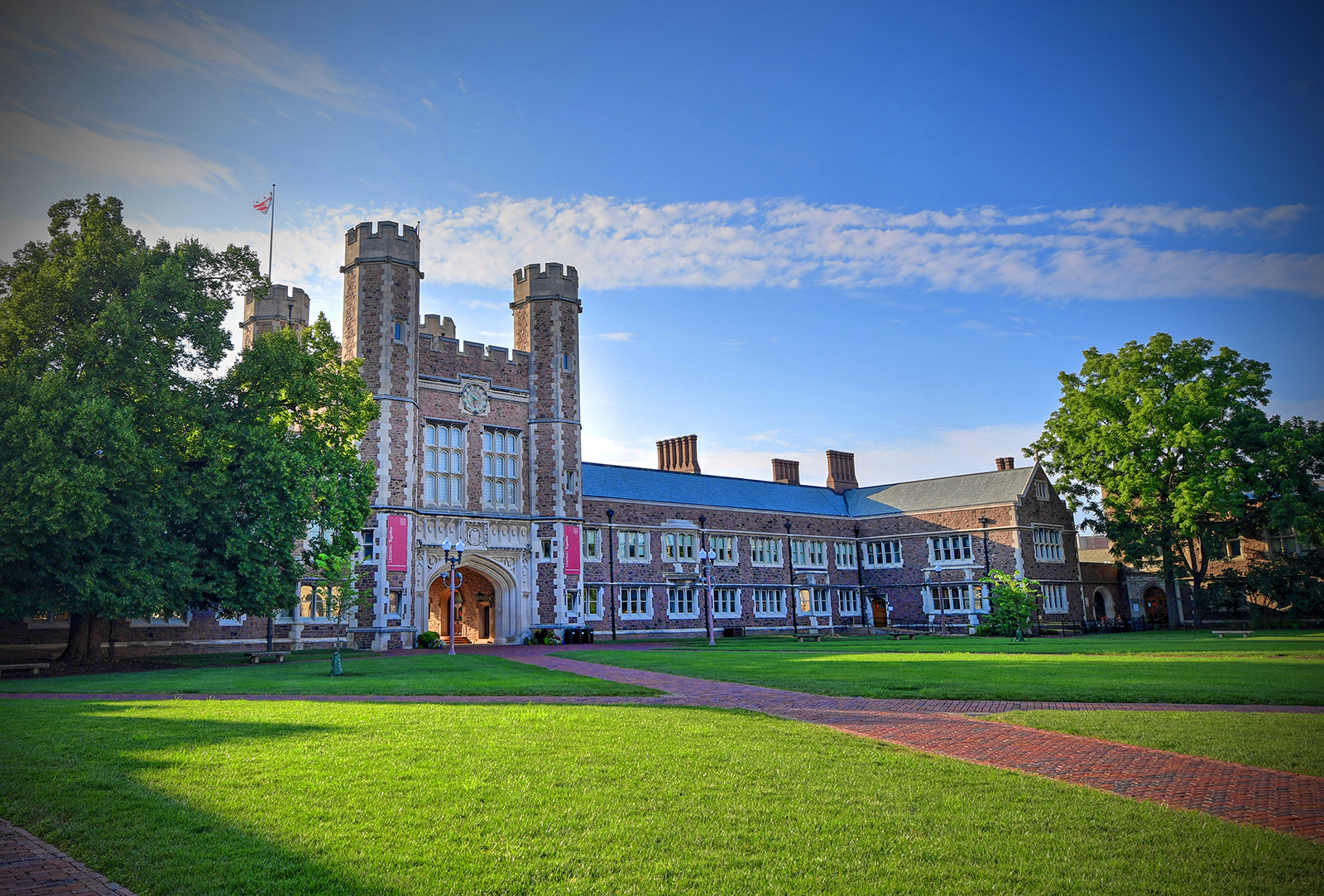 image of brookings hall from within brookings quadrangle