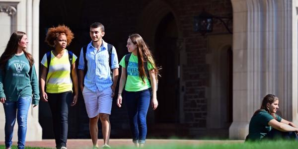 students walking outside of Brookings Hall