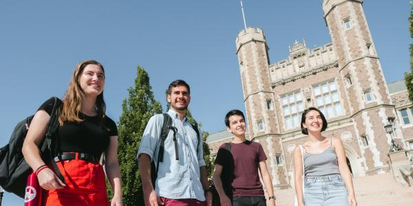 international summer study students outside of Brookings Hall