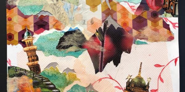 Contemporary collage summer course student artwork Robin Hattouri